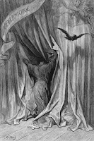 "An illustration by Gustave Doré, featuring a figure from behind, pushing past heavy curtains. A banner reading ""Nevermore"" is draped across the upper left corner of the image and a skeleton can be seen in the upper right corner.  A raven flies across the scene, just under the skeleton."