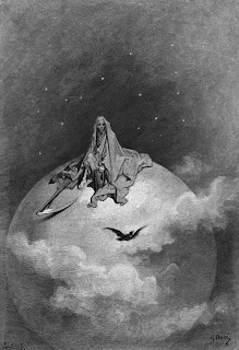 An illustration by Gustave Doré, featuring a cloaked skeleton seated on a large sphere with a scythe and hourglass. A raven and clouds drift past. There are stars in the background.