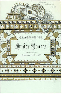 "A printed page reading ""Class of '85 Junior Honors November 27, 1883."""