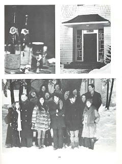A set of black and white photographs featuring and wine both and glass, an exterior door to Foley House, and a group of bundled people standing outside in the snow.