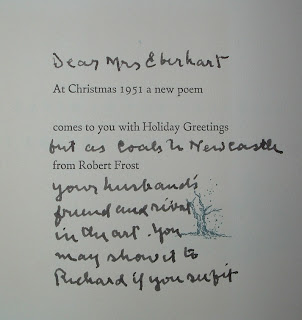 A printed holiday greeting, interspersed with handwritten notes.