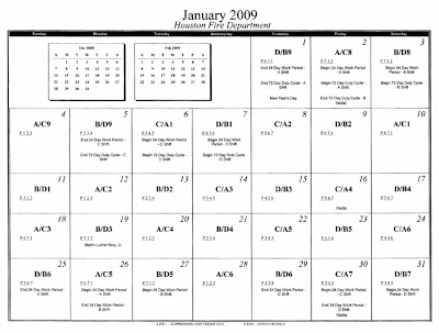 District 8 B 2009 Hfd Suppression Shift Calendar