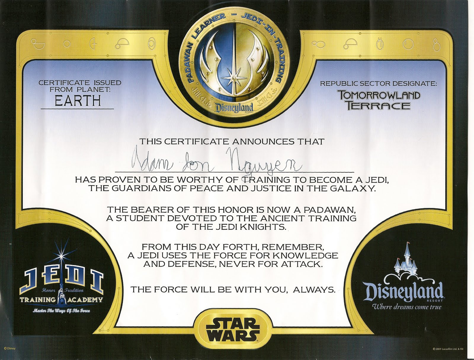 Lori pori what 39 s the story for Star wars jedi certificate template free
