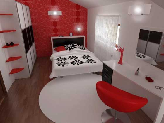 Louise: Black, White And Red Decor