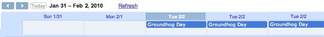 Google Calendar with repeating Groundhog Day