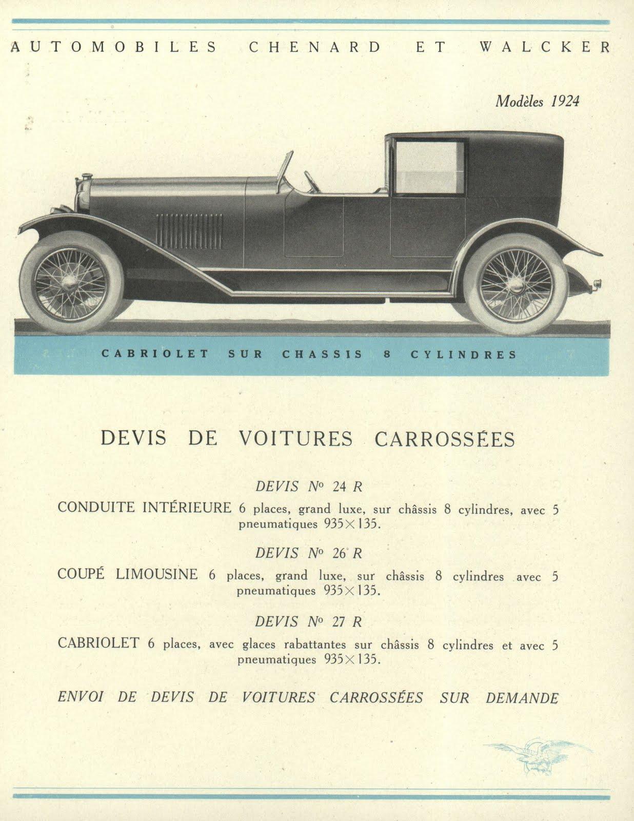 vieux papiers chenard et walcker  catalogue 1924