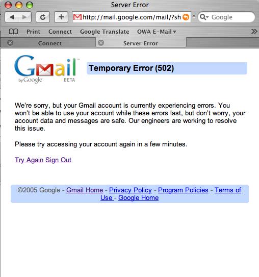 gmail error 2008