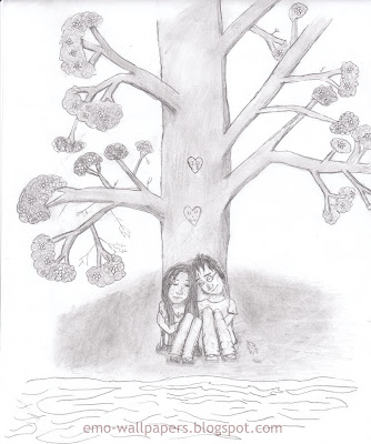 My New Blog Emo Love Heart Drawings