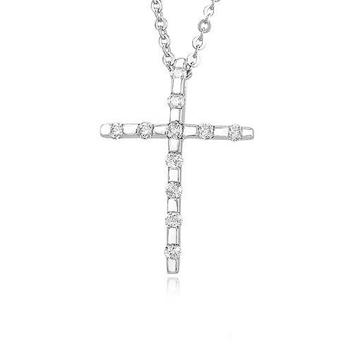 Diamond Cross Necklace White Gold