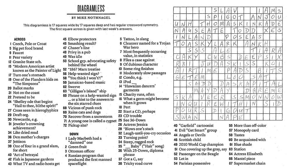The New York Times Crossword in Gothic: 01.09.11 — ASK ...