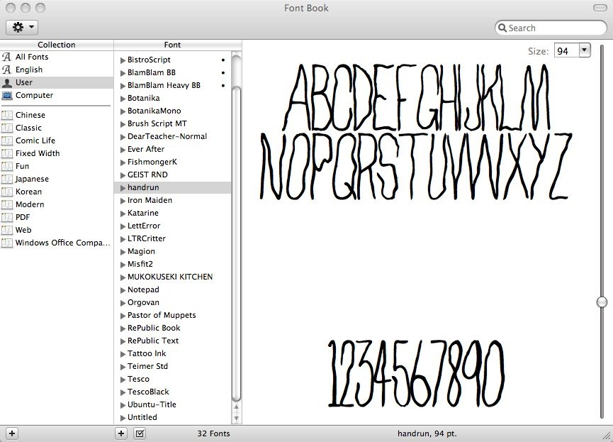 crucial parts: MY FIRST FONT