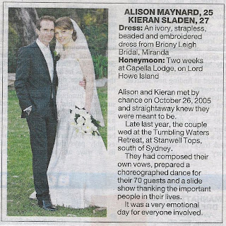 Sunday Telegraph Weddings Section | Alison & Kieran