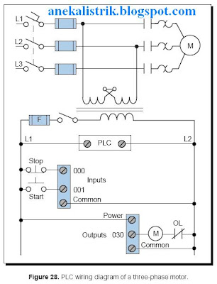 Plc aneka listrik plc input wiring diagram although the three phase motor has a three wire control circuit, its corresponding plc control circuit has only two wires this two wire configuration is