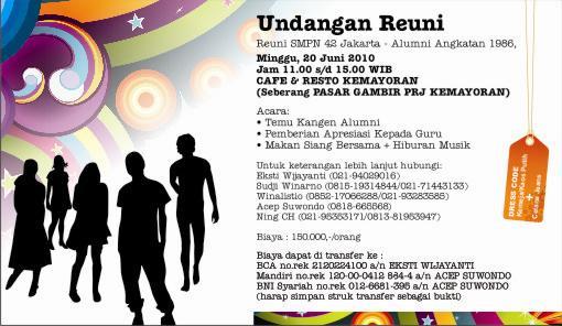 Alumni Smp Negeri 42 Jakarta Kartu Undangan Reuni