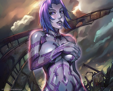 cortana covering her boobs