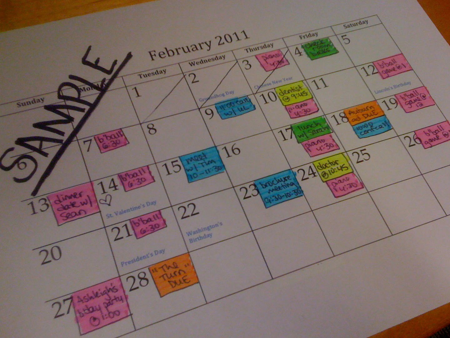 Color coded calendar the neat get neater day 82 color code for Color coded calendar template