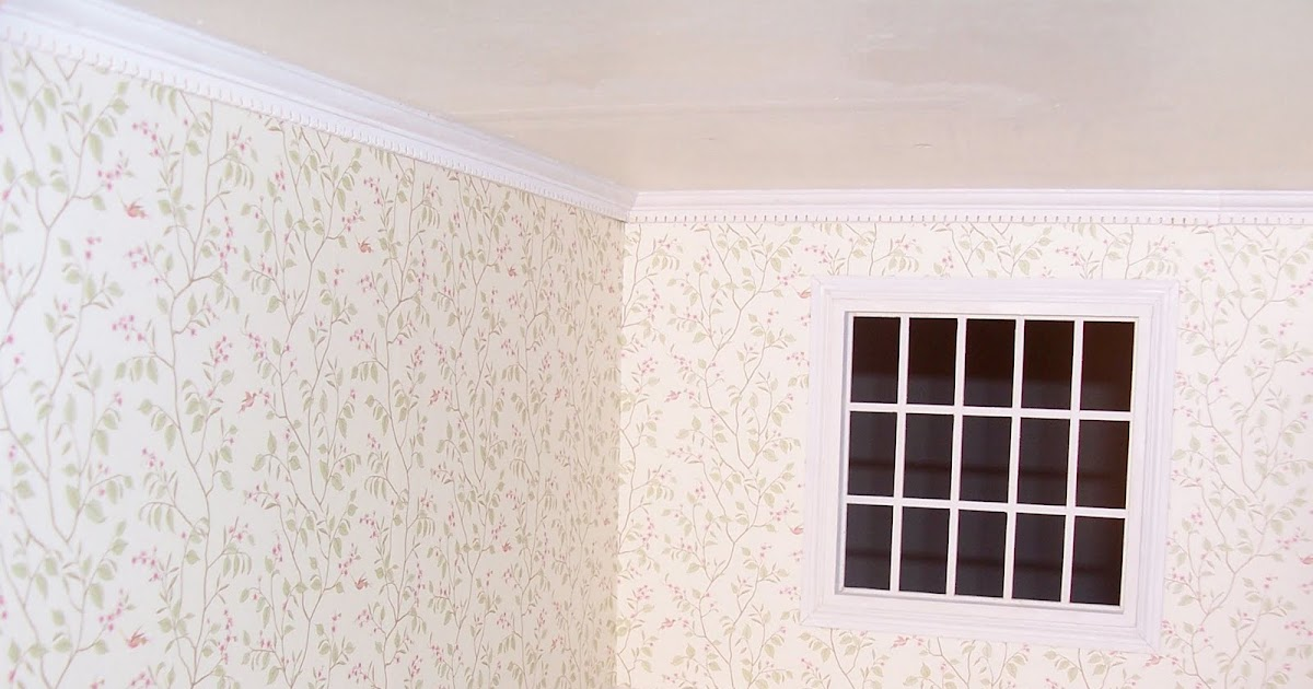 Knotty By Nature: Dollhouse wallpaper, window trim and flooring: Things are looking up!