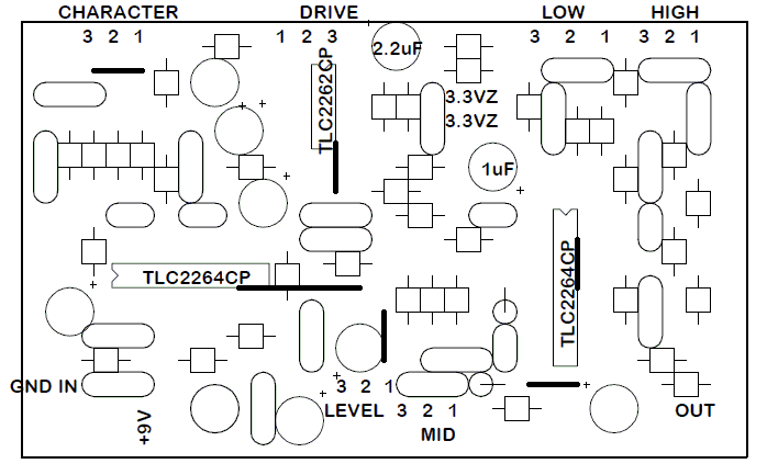 PCB layouts for diy stompboxes: Tech 21 Sansamp Character