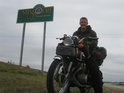 Missouri state line, cross country motorcycle trip, across US, honda motorcycle