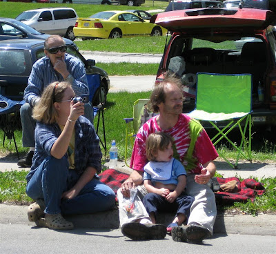hippie watching the parade, redford township, memorial day