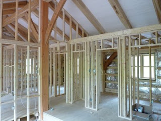 Interior wall framing complete! & Timber frame house build: Interior wall framing complete!
