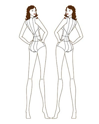 Fashion illustration templates back for Textiles body templates