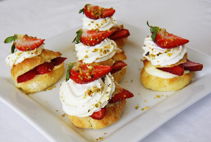 Gourmet Baking Strawberry Cream Puffs With Grand Marnier