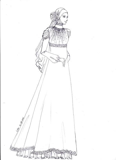 Sketsa dan Cara Menggambar Baju Muslim Wanita