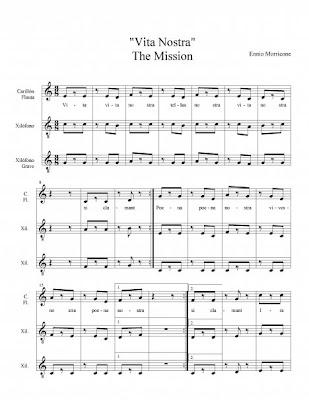"""Partitura de La Misión para  Flauta, Carrillón, Xilófono, Metalófono e Instrumentos de Placa con acompañamiento """"Vita Nostra"""" flute and xilophone"""