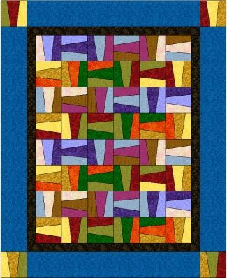 Handcrafting With Love: Wacky Rail Fence - Free Quilt Pattern