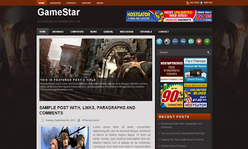 Game Star Blogger Template