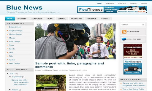 Blue News Blogger Template