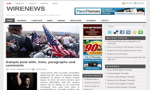 Wire News Blogger Template