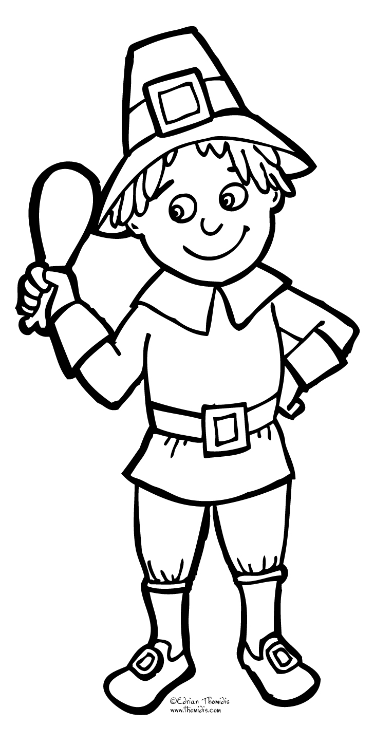 pilgrim boy coloring page - a picture paints a thousand words thanksgiving coloring