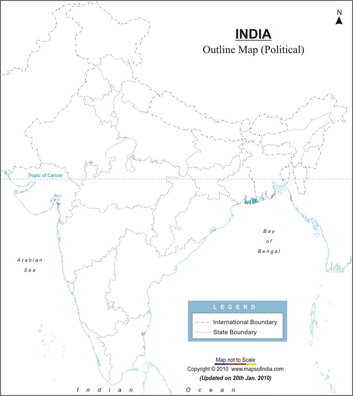 india physical map outline in a4 size