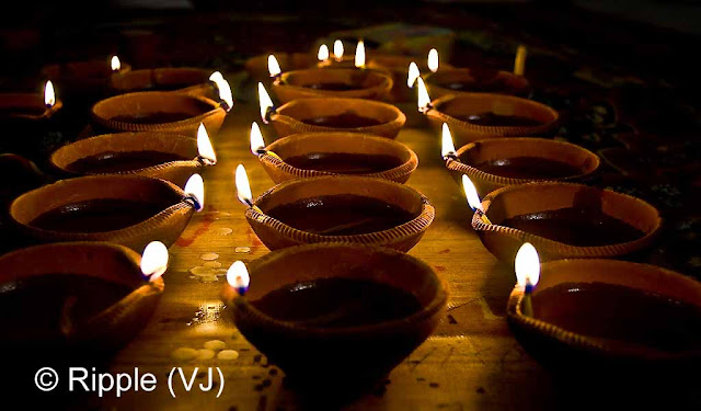 Posted by Ripple (VJ) : Diwali Celebrations 2008 (Indian Festivals of Lights): Clay Diyas during Laxmi Pooja