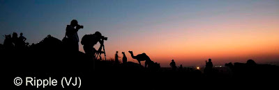 Posted by Ripple (VJ) :  Pushkar Camel Fair 2008 : Photographers clicking Sunset photographs @ Pushkar Camel Fair 2008 : The small and beautiful town of Pushkar is set in a valley just about 14 km off Ajmer in the north Indian state of Rajasthan. Surrounded by hills on three sides and sand dunes on the other, Pushkar forms a fascinating location and a befitting backdrop for the annual religious and cattle fair which is globally famous and attracts thousands of visitors from all parts of the world.