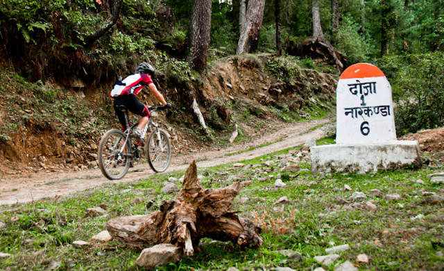Next Journey of MTB Himachal 2010 on its 7th Day - Chavadh to Narkanada-01 : Posted by VJ SHARMA on www.travellingcamera.com : It was second day of MTB Himachal 2010 and we were heading towards beautiful camping site in Narkanada which was our last  camping of MTB Himachal 2010... Day started from Chavad and we started moving towards Shimla along Satluj River and hit national highway 22.. Whole stretch was beautiful and here are few photographs from seventh day of MTB Himachal 2010... Check Out !!!Don't go with the order of these photographs because these are placed in random order and not according to the flow of day... This photograph was clicked during last stretch of 7th day near Narkanda... It was uphill stretch with beautiful views to snow covered hills... Road were very colorful in foggy evening...MTB Rider struggling with the tiring uphill .... Mountain Terrain Biking event in Himachal is a good adventurous activity for folks who love to drive these engineless two-wheelers.... It provide a very different kinds of challenges in himalayan terrains with unmatchable natural beauty... I met some of the riders who have their own tents and they go to these unknown places in groups and enjoy their vacations... I met one rider who was from Dehradun and him group went to Dharmshala from Delhi.. and they used to plant their tents anywhere they wanted... Any beautiful place in forests or anything else... Can you imagine the kind of joy in these kinds of trips..Local folks looking at MTB riders and amazed by their speed of riding bikes on those difficult terrains... Sometimes their expressions say that its a normal thing and why you are so dressed up to ride a cycle here :)It was a long journey of 500 kilometers during 8 days of MTB Himachal 2010... and finally they were about to hit the end of it.. It was feel-good thing but of course we were disappointed by the fact that its going to end after one day.. and all of us need to get back to our routine lives... Chavad - Nagaan - Nimala - Baihna - Chhavati - Loohari - Neerath - Kiriti - Chimla - Nog - Kumarsen - Badogi - Daibu - Jogsha - Madhavani - Doja --- NarkanadaMTB Himachal rider flighting to reach early at the final point where time-keepers are standing to note down the records ... Although Ajay was leading the race but everyone had passion to beat their earlier record times... PHOTOQUEST cab reached a forest much before MTB riders and it was chilling out there... All of us collected some wood and had bonfire in the forest... Our final destination Narkanda was just 6 kilometers from tis place and we didn't want to miss some shots at this place... We waited for riders and spent around 45 minutes doing some other chit-chat.... Above photograph shows one of the rider from leading group on 7th day of MTB Himachal...Our hard work and a rider doing the same in the background of this photograph....Ravi, Surbhit, Varun and Padam enjoying in a dense forest near Narkanada.. It was a beautiful site and whole stretch after this point was marvelous !!!Varun... Official Photographer of MTB Himachal 2010... A great guy and a good Photographer... Hope to catch him soon in other such events...