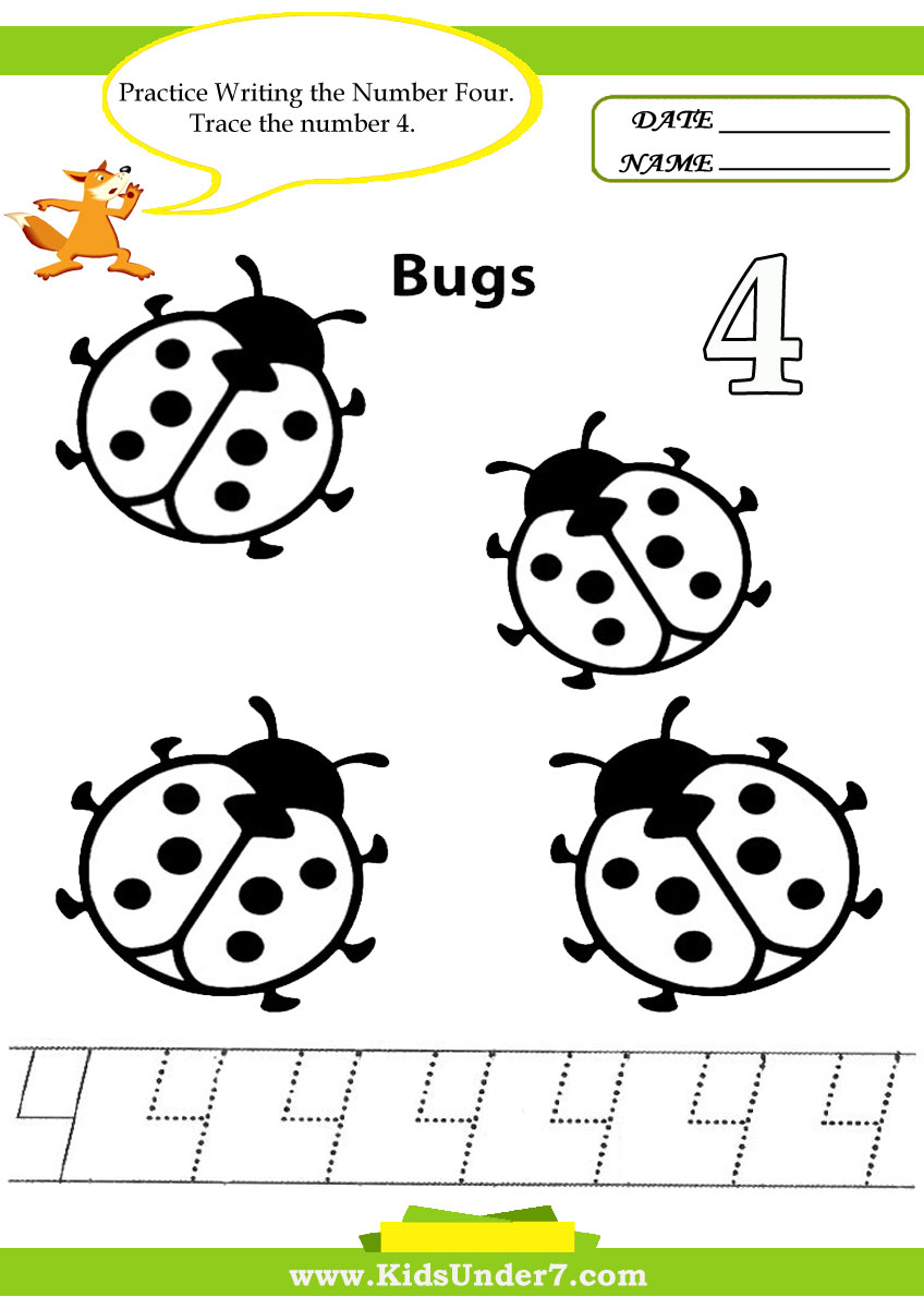 Kids Under 7: Number Tracing -1-10 - Worksheet. Part 1