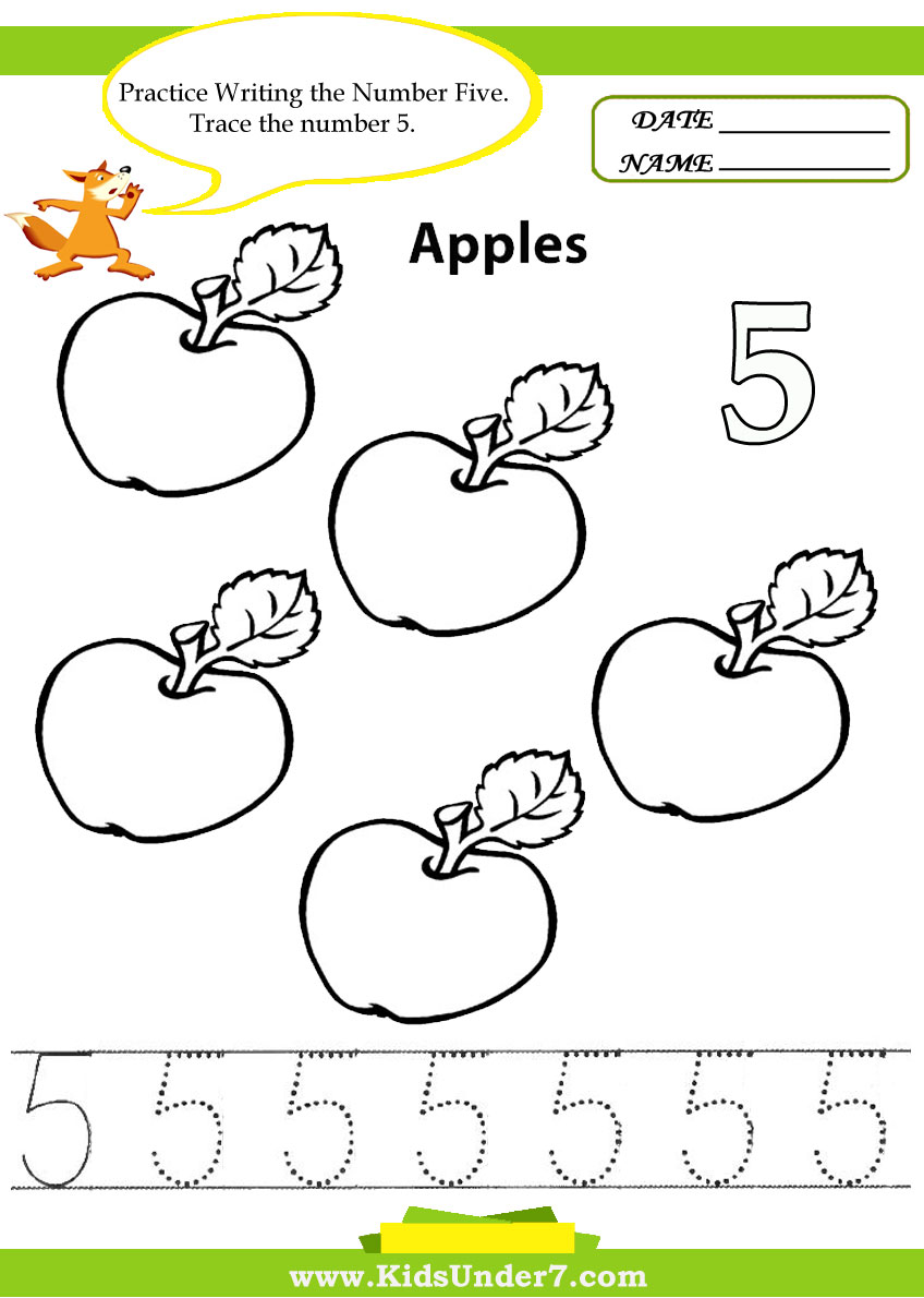 Number Names Worksheets write the number names worksheets : Kids Under 7: Number Tracing -1-10 – Worksheet. Part 1
