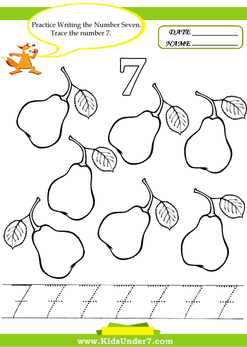 Kids Under 7: Number Tracing -1-10 - Worksheet. Part 2