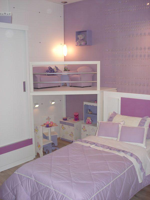 Quarto de menina lilás, decoração, cor, estilos e muitas idéias