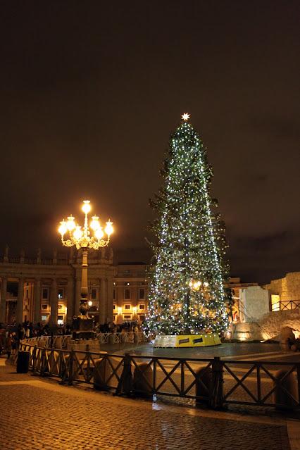 Piazza San Pietro con l'albero di Natale di notte-Roma