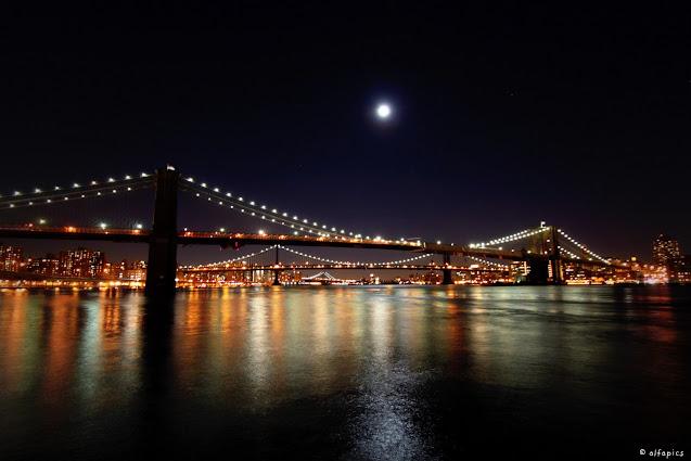 Manhattan e Brooklyn bridge dal Pier 17-New York