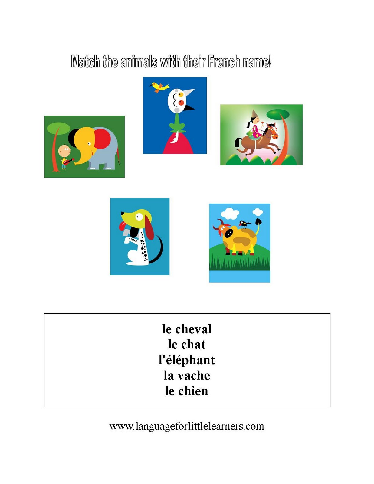 language for little learners french animal worksheet. Black Bedroom Furniture Sets. Home Design Ideas