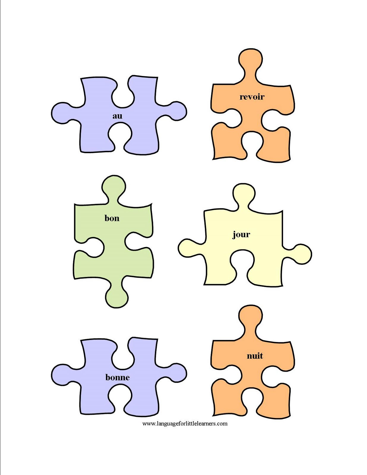 Language For Little Learners French Puzzle Worksheet