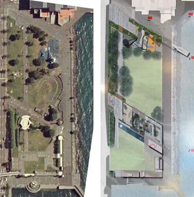 Current Frank Kitts Park layout compared to selected new design
