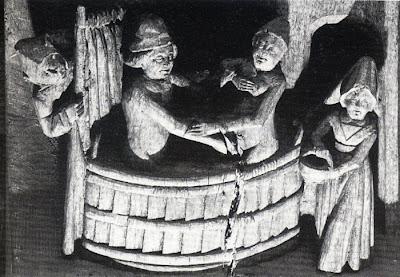 Mísula de sala de recepção da Câmara de Damme. Séc. XV- cena de banho misto, observada por um louco