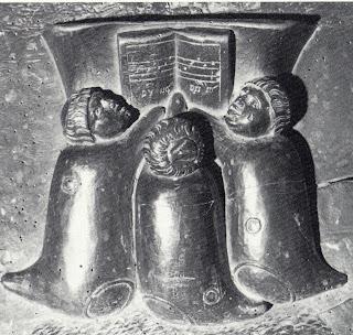 Vino Puro- monges ensacados em pele de vinho, misericórdia do cadeiral de Ciudad Rodrigo (autoria de Rodrigo Alemão)