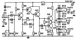 Electronic Circuits Diagram: Video Signal Amplifier